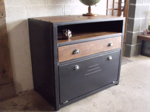 commode commode bois m tal commode industriel meuble industriel rangement bois m tal. Black Bedroom Furniture Sets. Home Design Ideas