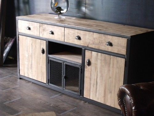 meuble buffet bois de palette au style industriel cr ateur et fabricant de mobilier sur mesure. Black Bedroom Furniture Sets. Home Design Ideas