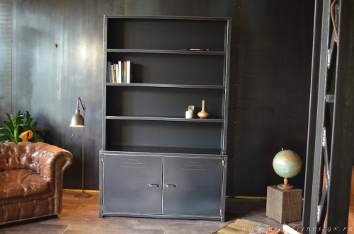 meuble biblioth que en acier sur mesure cr ateur et. Black Bedroom Furniture Sets. Home Design Ideas