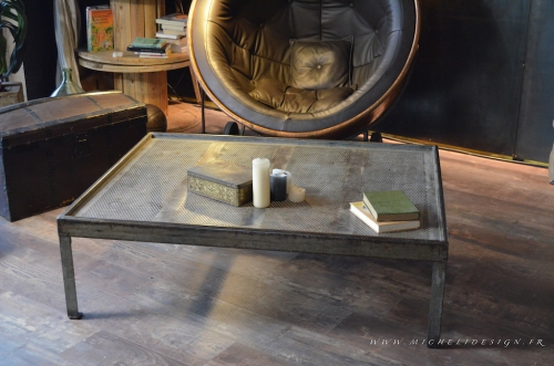 table basse, esprit brocante, table basse industrielle, mobilier industriel